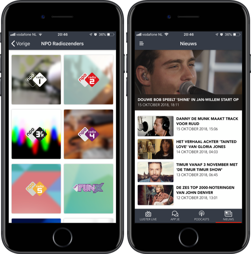 Wisselen tussen zenders en nieuws in NPO Radio 2-app.