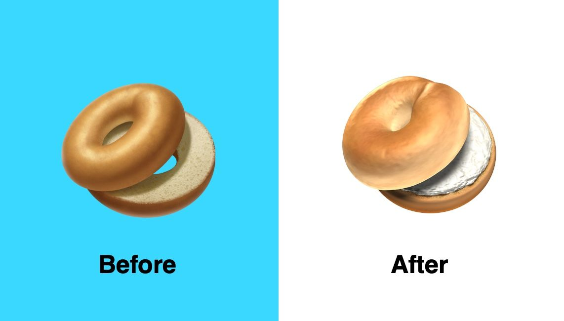 Bagel-emoji in iOS 12.1 Beta 4.
