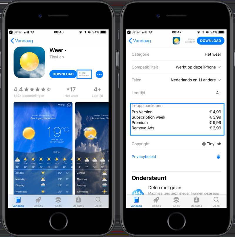 In-app aankopen in de App Store bekijken.