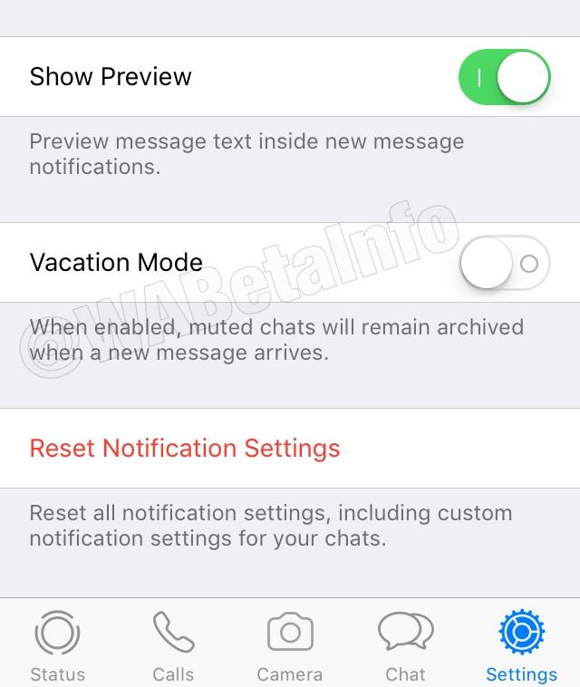 WhatsApp vakantiemodus in de beta.