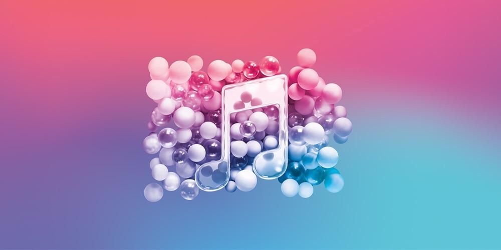 Apple Music logo met muzieknoot met bolletjes.