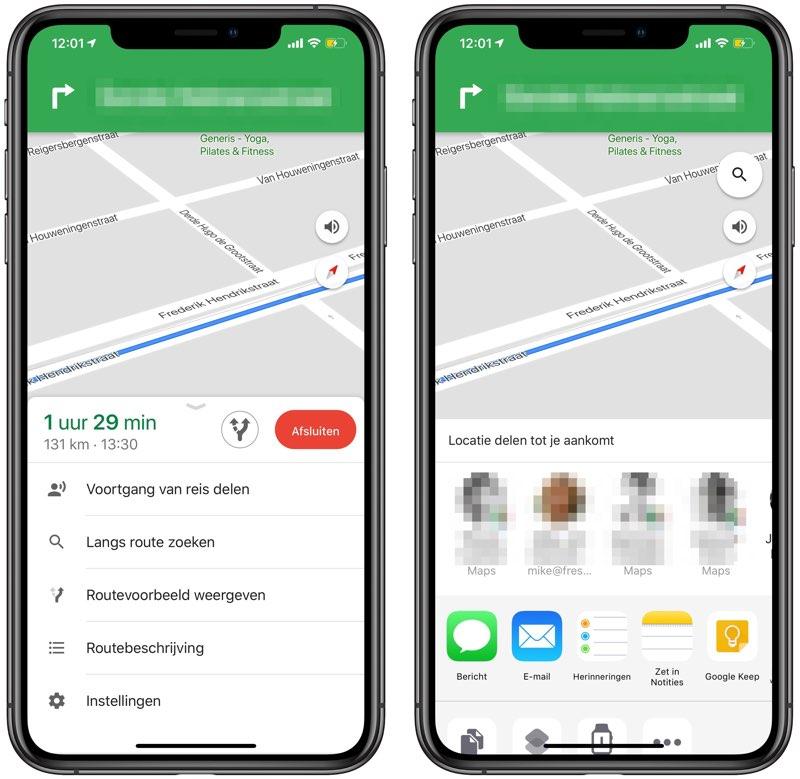Aankomsttijd Google Maps delen