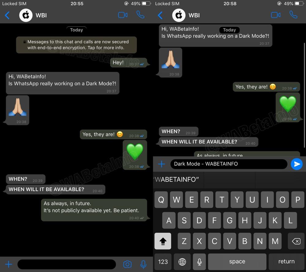 Screenshots van WhatsApp donkere modus.