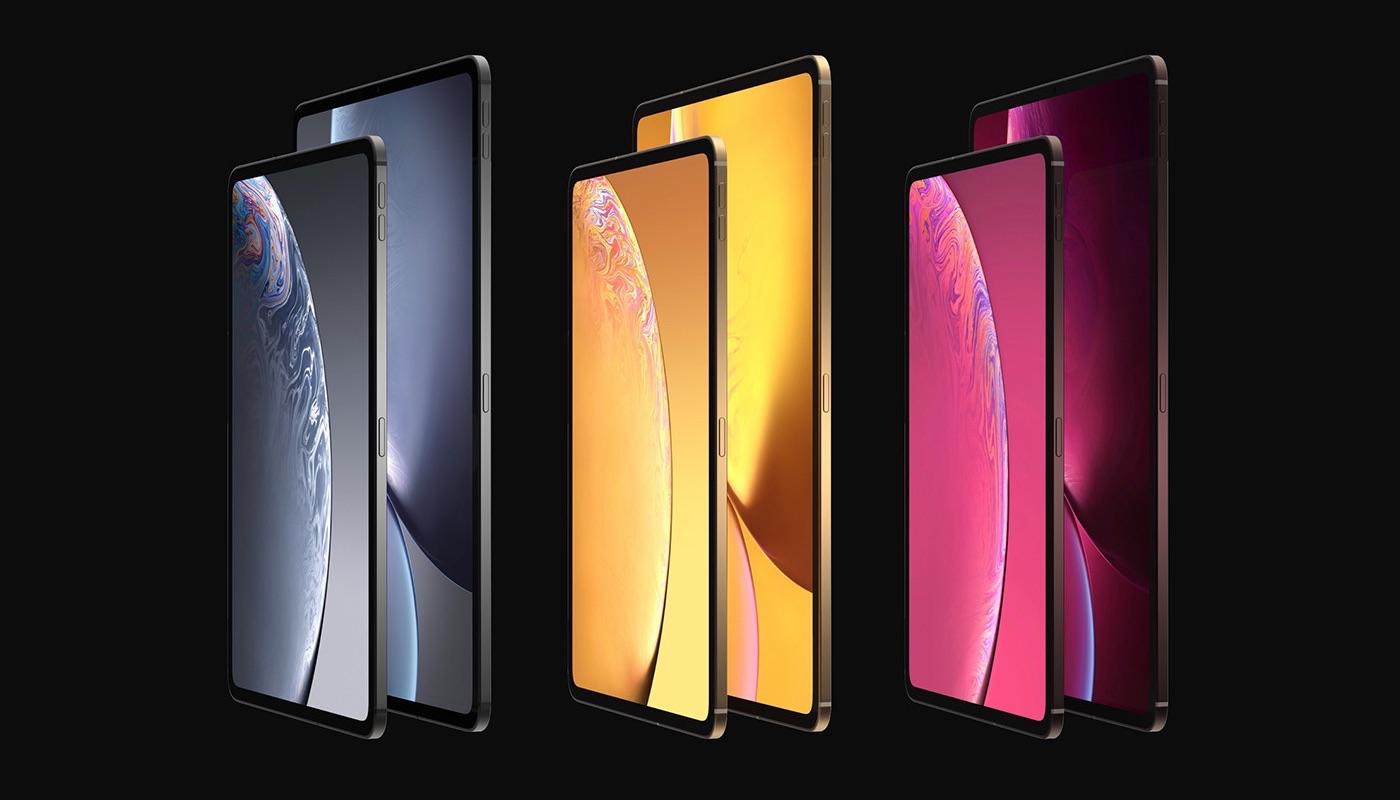 iPad Pro-concept in verschillende kleuren.
