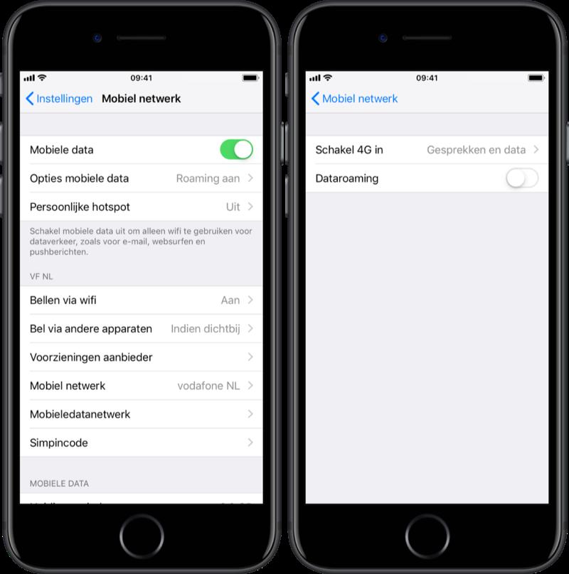 Dataroaming uitschakelen op de iPhone.