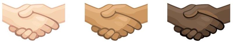 Emoji handen schudden huidskleur