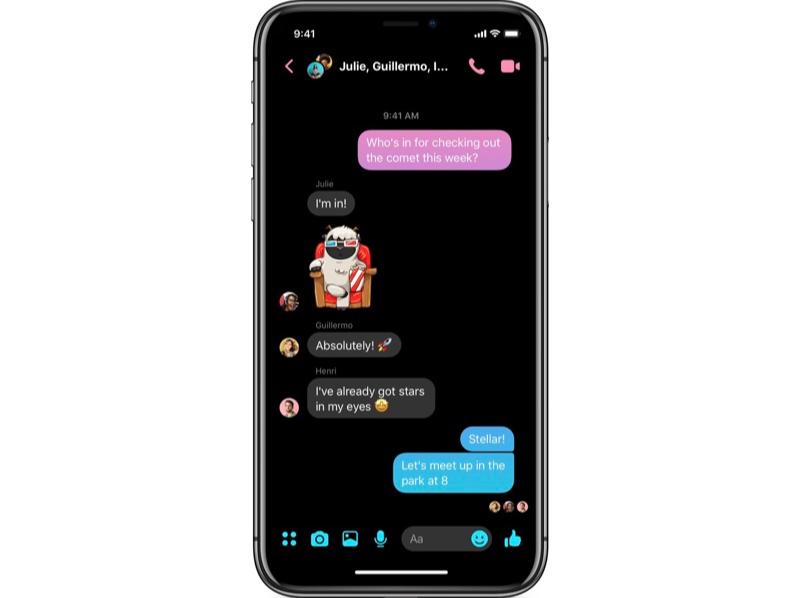 Facebook Messenger 4 dark mode.