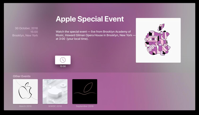 Apple Events app voor oktober 2018.