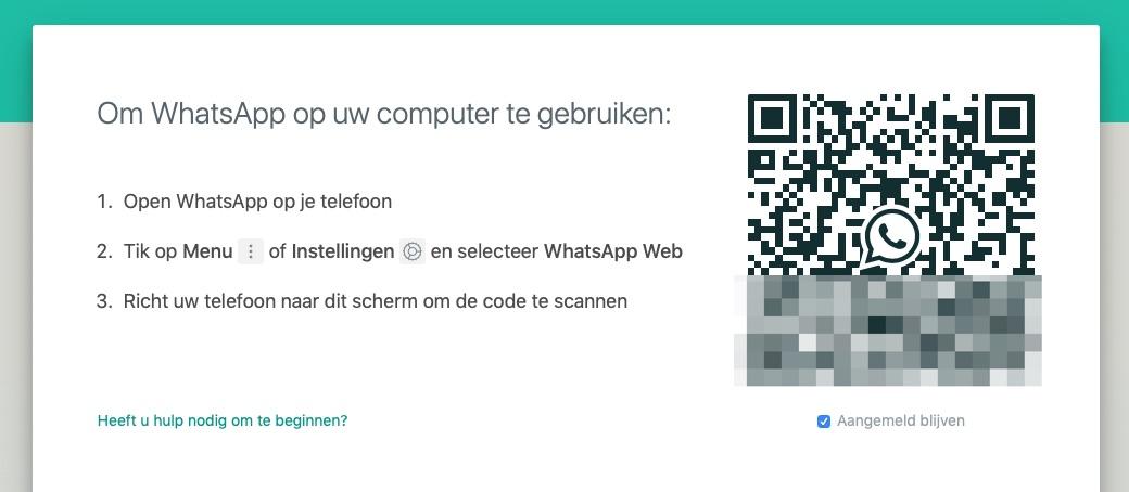 WhatsApp Web met QR-code.