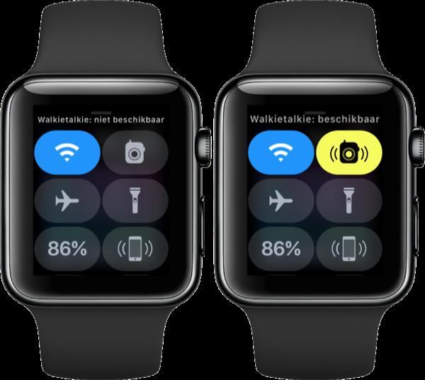 Apple Watch bedieningspaneel met knop voor Walkietalkie.