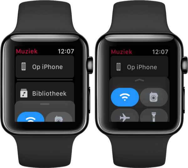 Apple Watch Bedieningspaneel openen vanuit apps.