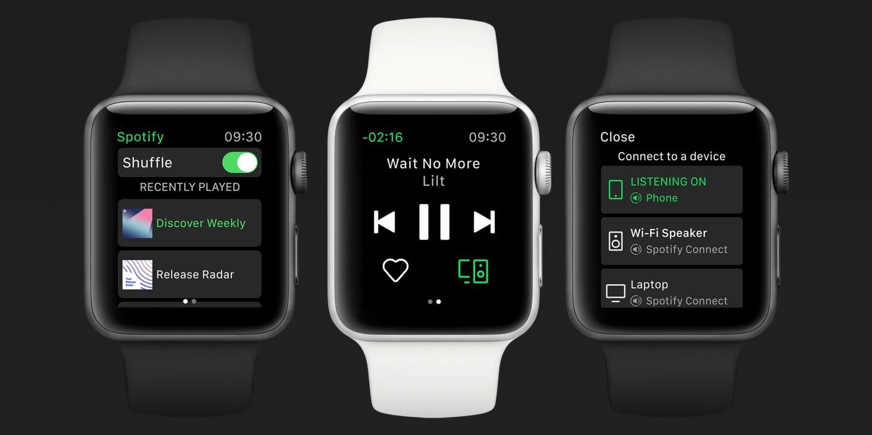 Apple Watch met muziek van Spotify.