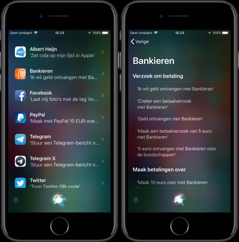Siri-vragen aan apps van derden.