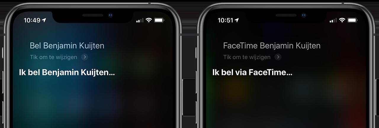 Siri bellen en FaceTime