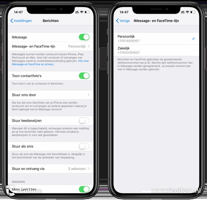iMessage lijn kiezen op iPhone XR met dualsim.