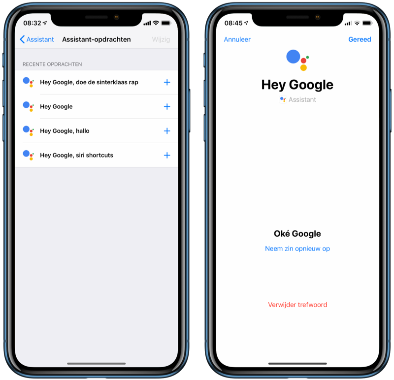 Google Assistent met Siri Shortcuts.
