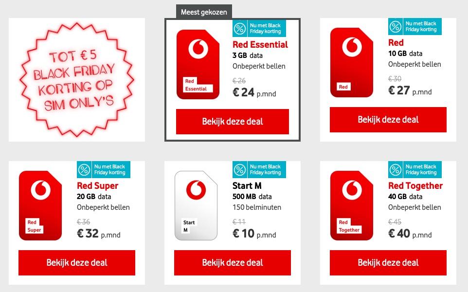Vodafone Black Friday 2018 aanbiedingen.