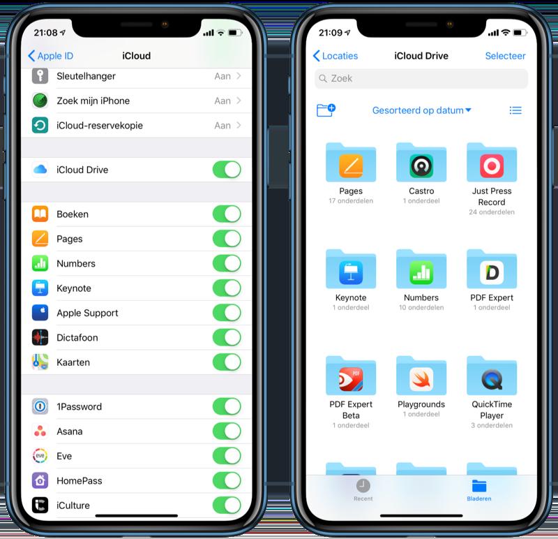 Apps die iCloud gebruiken op een iPhone.