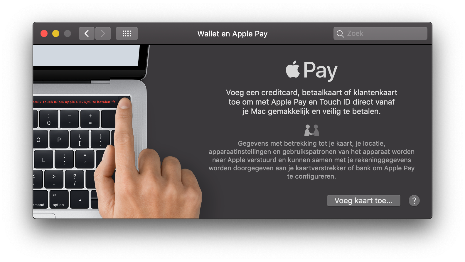 Apple Pay Mac instellen.