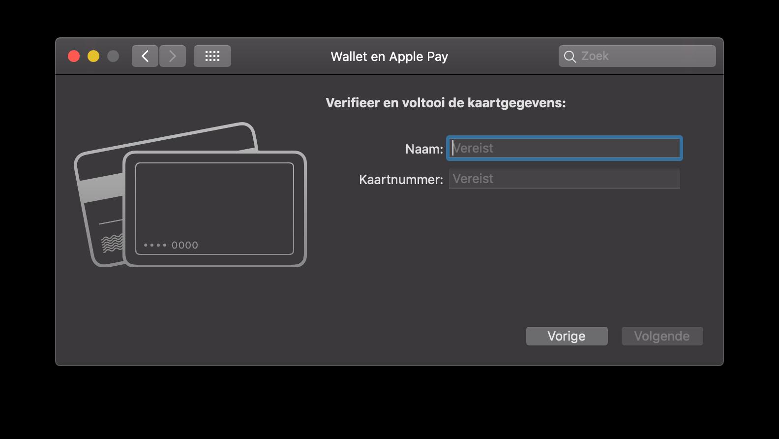 Apple Pay op de Mac kaart toevoegen.