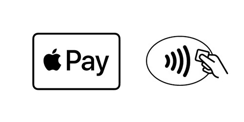 Logos for Apple Pay and contactless payment.