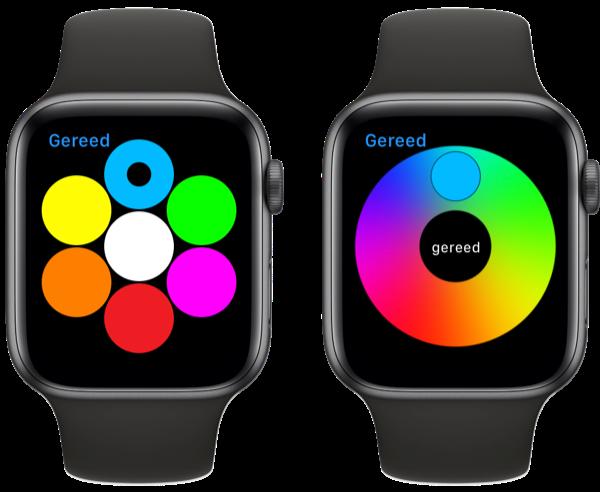 Kleur kiezen in Digital Touch op de Apple Watch.