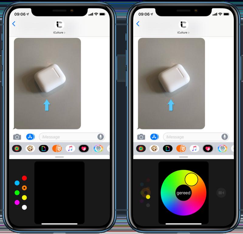 Kleur kiezen in Digital Touch op de iPhone.