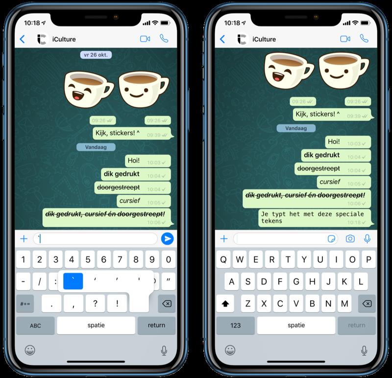 Tekstopmaak in WhatsApp met nieuw lettertype.