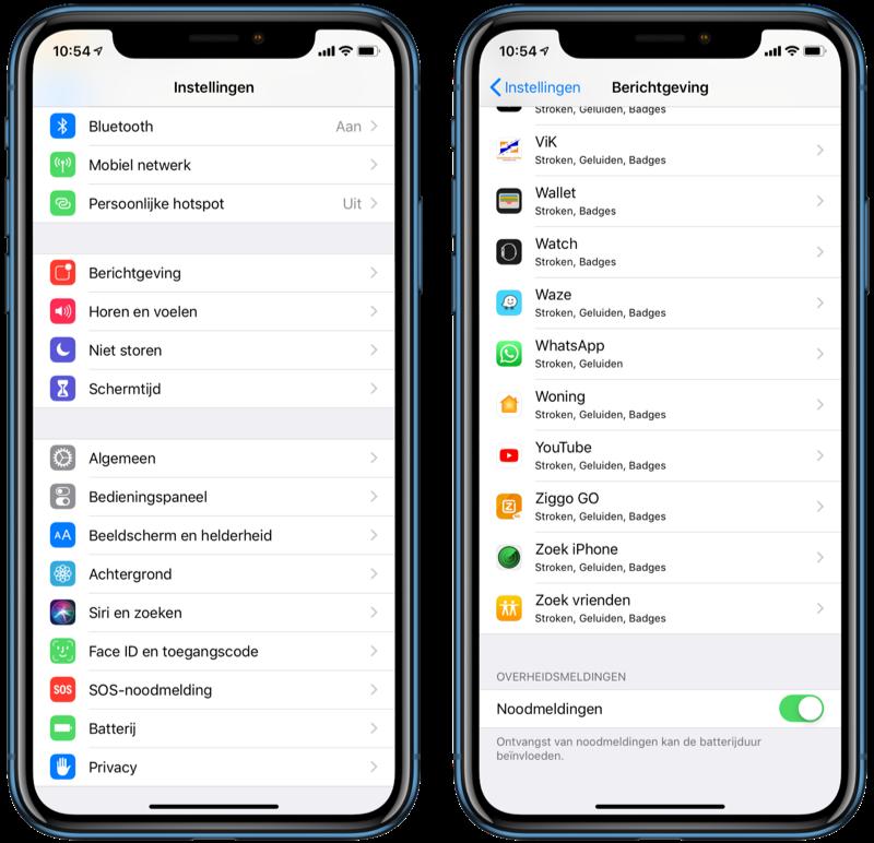 NL-Alert noodmeldingen instellen op de iPhone.