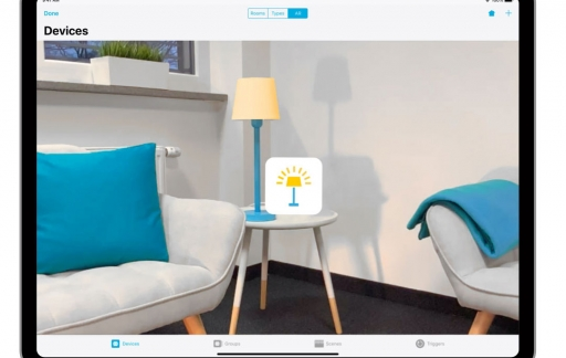 Devices met HomeKit en AR-functie op een iPad