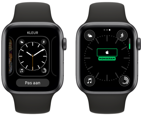 Apple Watch met Apple-logo op wijzerplaat.