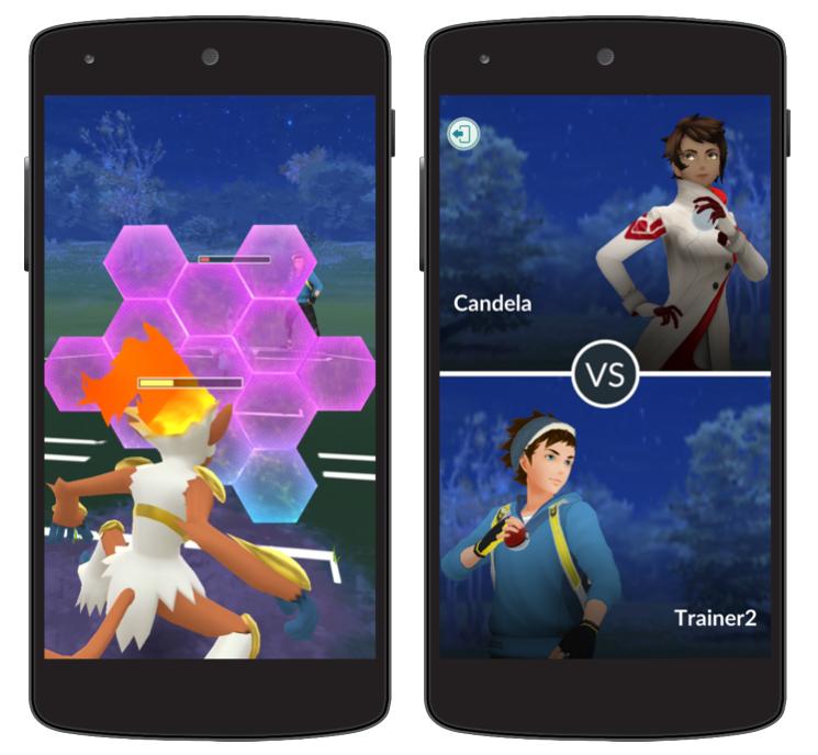 Pokémon Go spelergevechten met training.