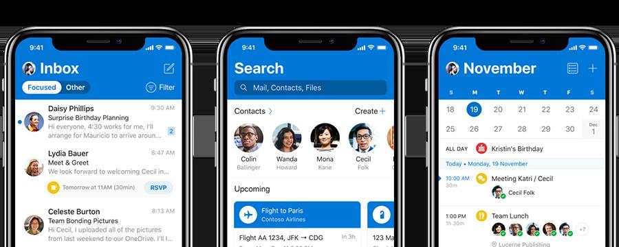 Outlook op iOS met nieuw design.