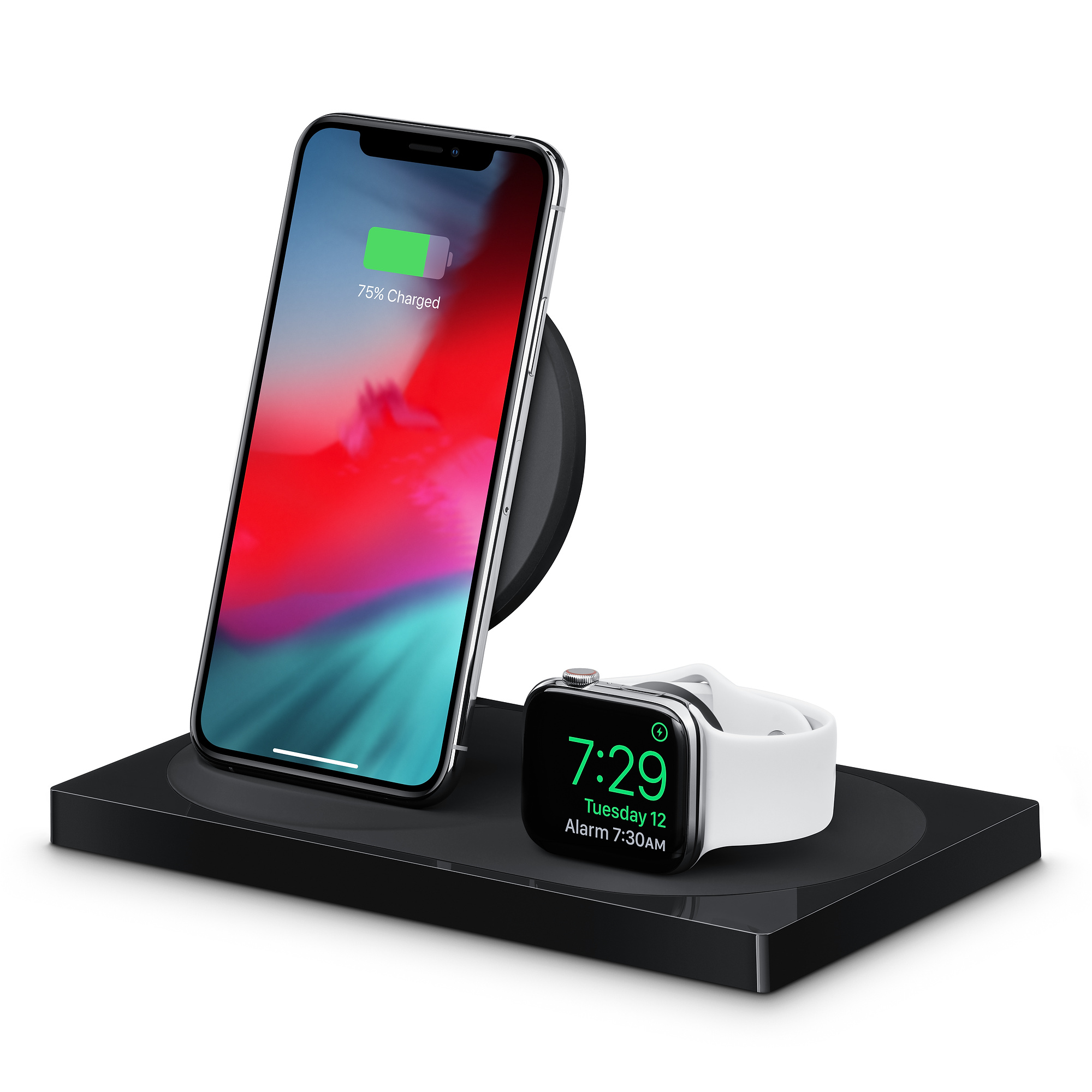 Voorkant van Belkin Boost Up dock voor iPhone en Apple Watch.