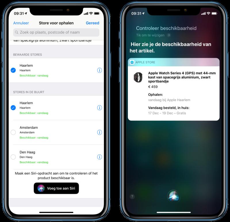 Apple Store met Siri Shortcuts beschikbaarheid controleren.