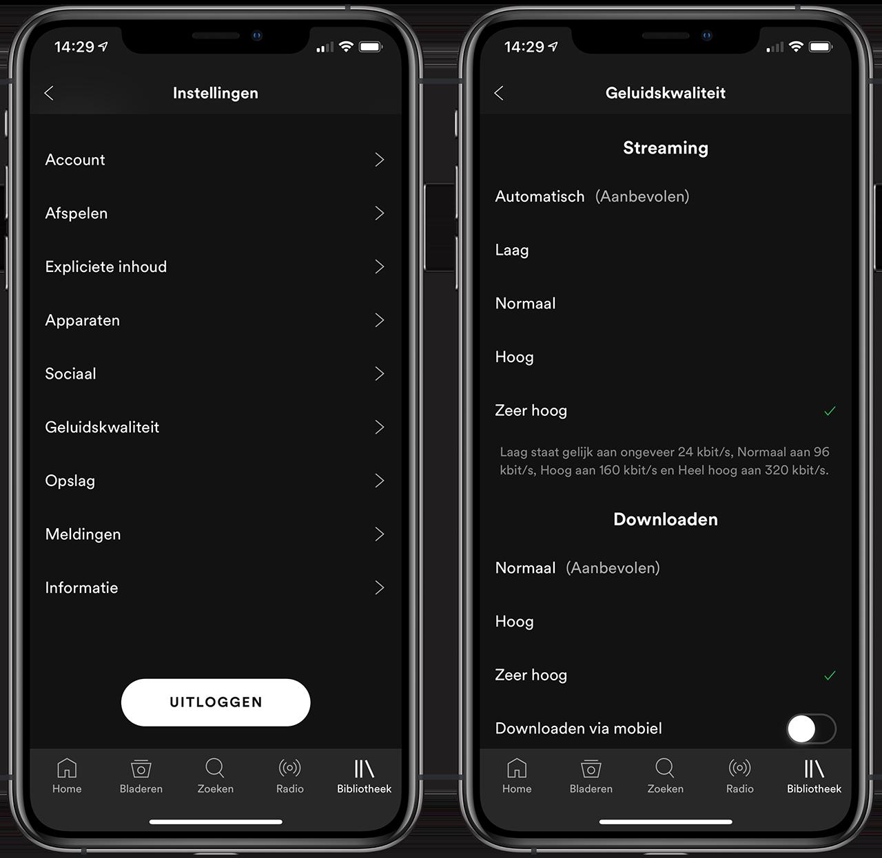 Spotify geluidskwaliteit iPhone