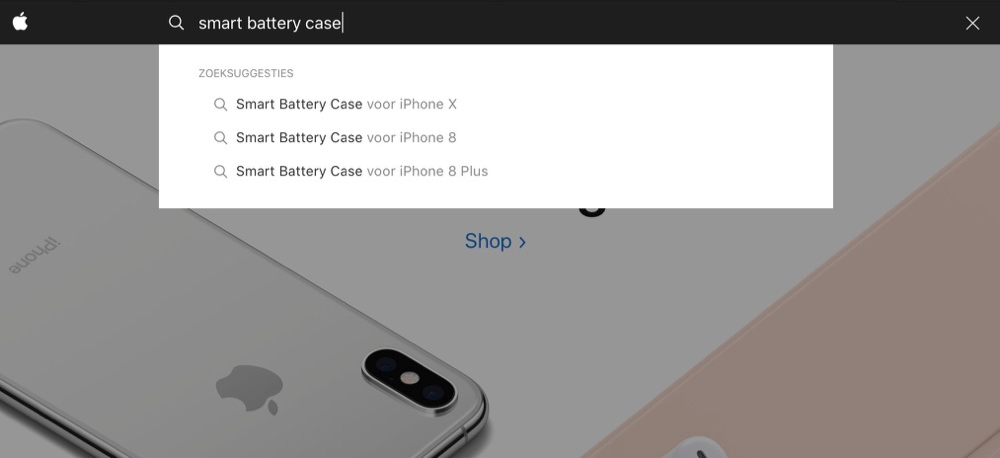 Smart Battery Case voor iPhone X vermelding op Apple-website.
