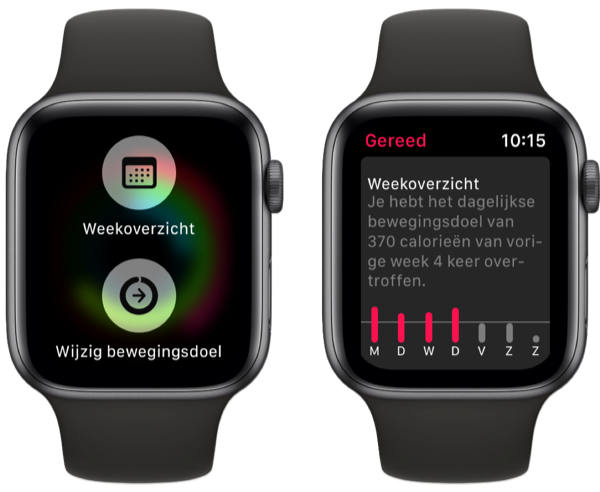 Apple Watch Activiteit weekoverzicht.