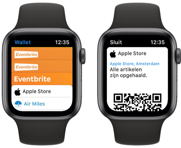 Wallet op Apple Watch.