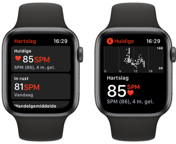 Hartslag meten op Apple Watch Series 4.