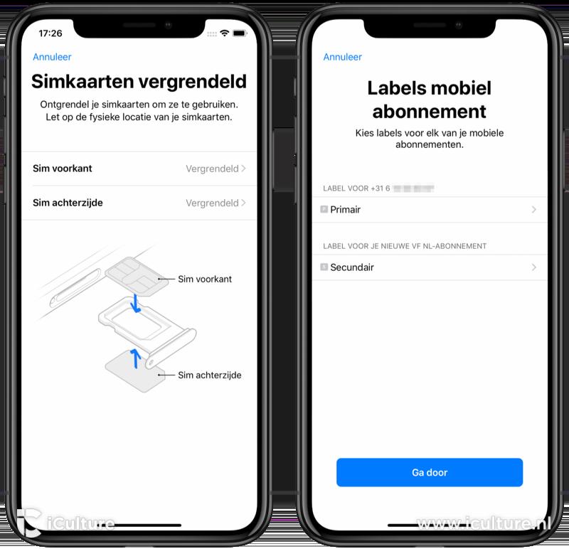 Fysieke dualsim iPhone ontgrendelen en labels toevoegen.