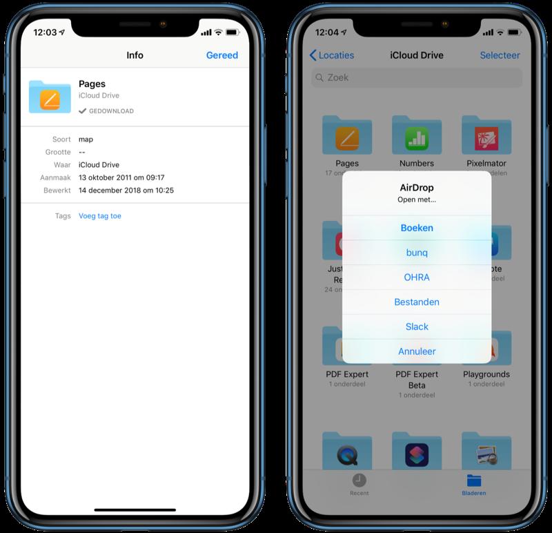 Bestanden-app bestand toevoegen of info bekijken.