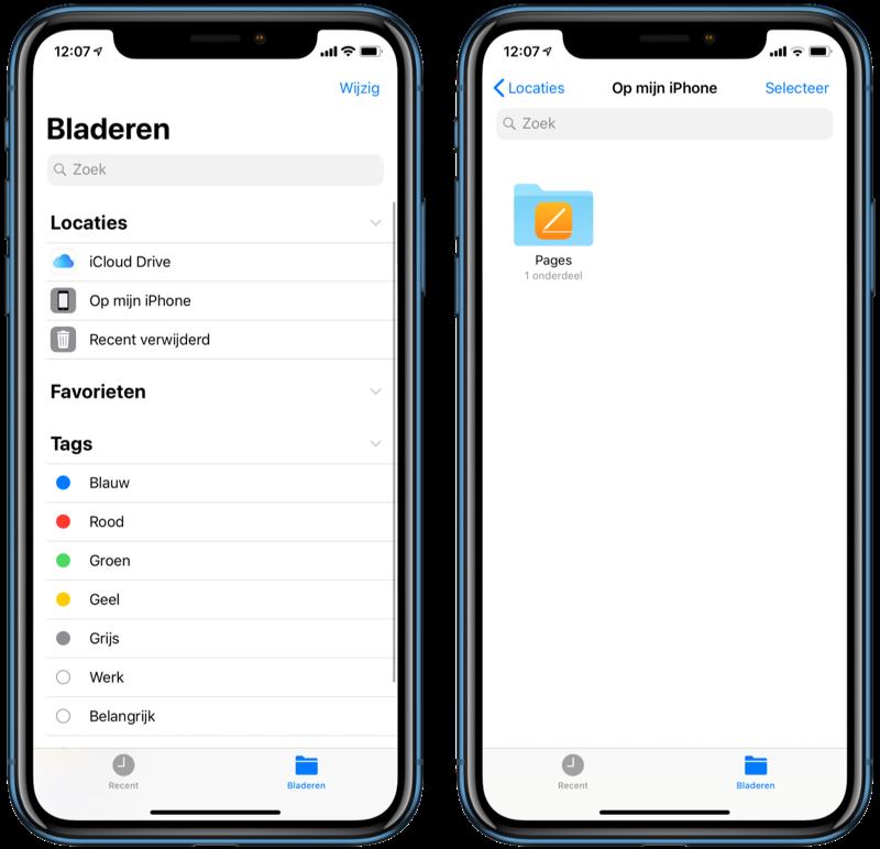 Bestanden-app offline bestanden op iPhone.