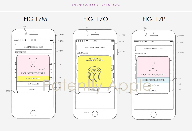Touch ID en Face ID in patent.