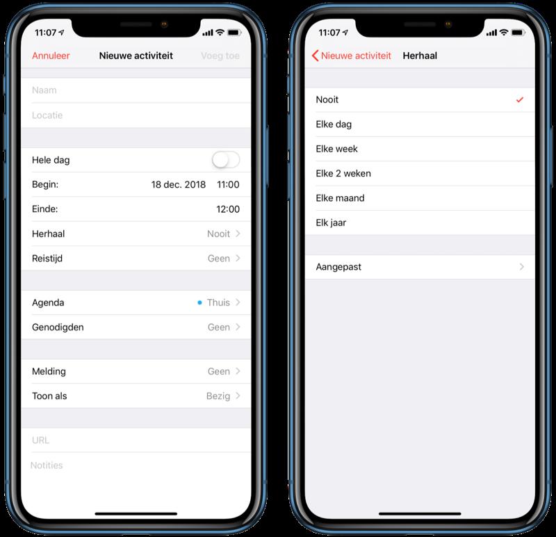 Activiteit toevoegen aan Agenda-app.