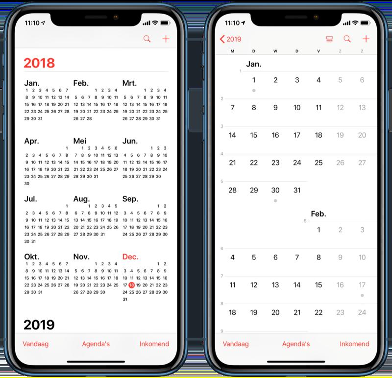Jaar- en maandweergave in Agenda-app.