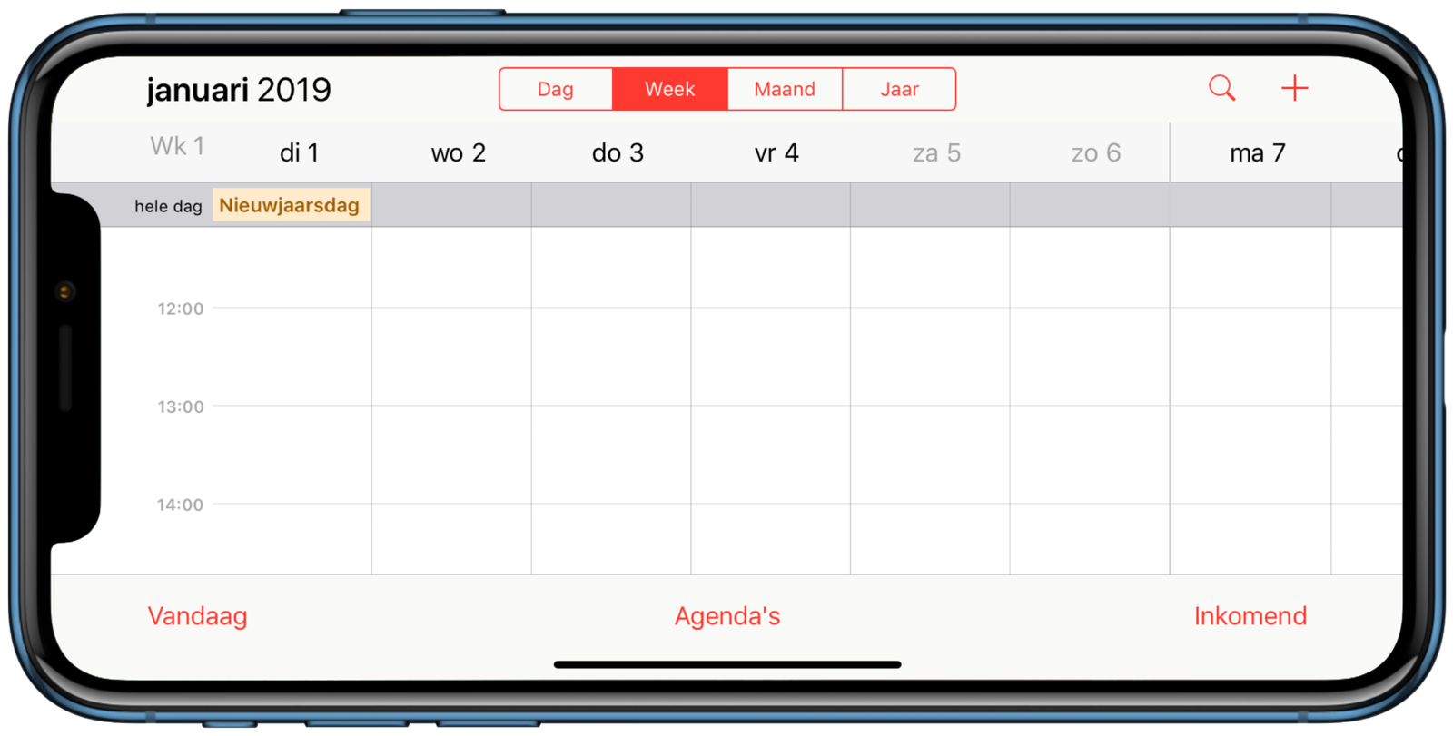 Weekweergave in Agenda-app.