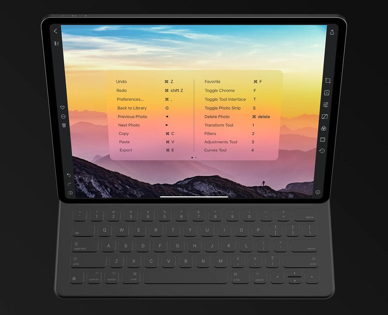 Darkroom sneltoetsen op iPad