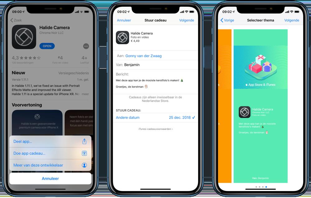 App cadeau geven en thema kiezen.