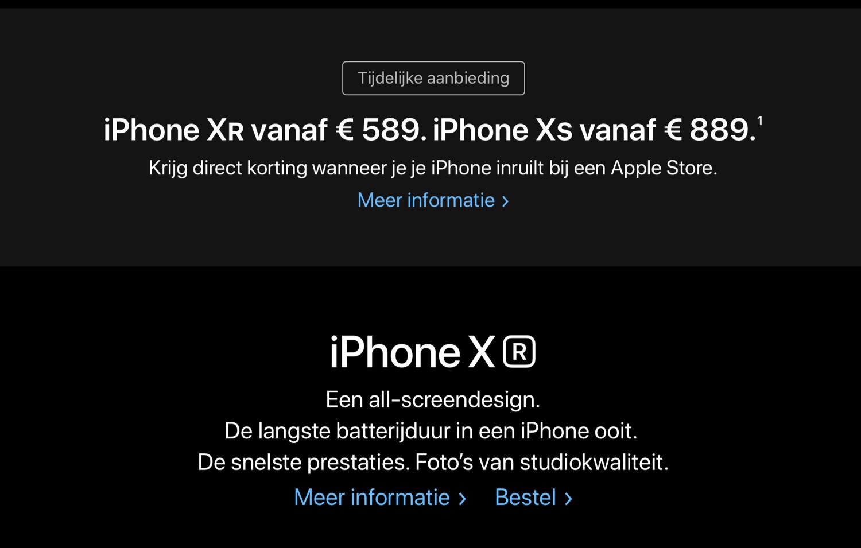 Apple inruilactie voor iPhone XS en iPhone XR.